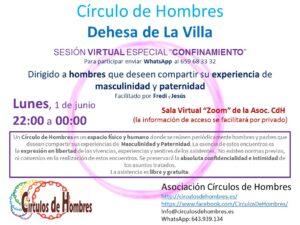 """Círculo de Hombres Dehesa de La Villa - Sesión virtual especial """"confinamiento"""""""